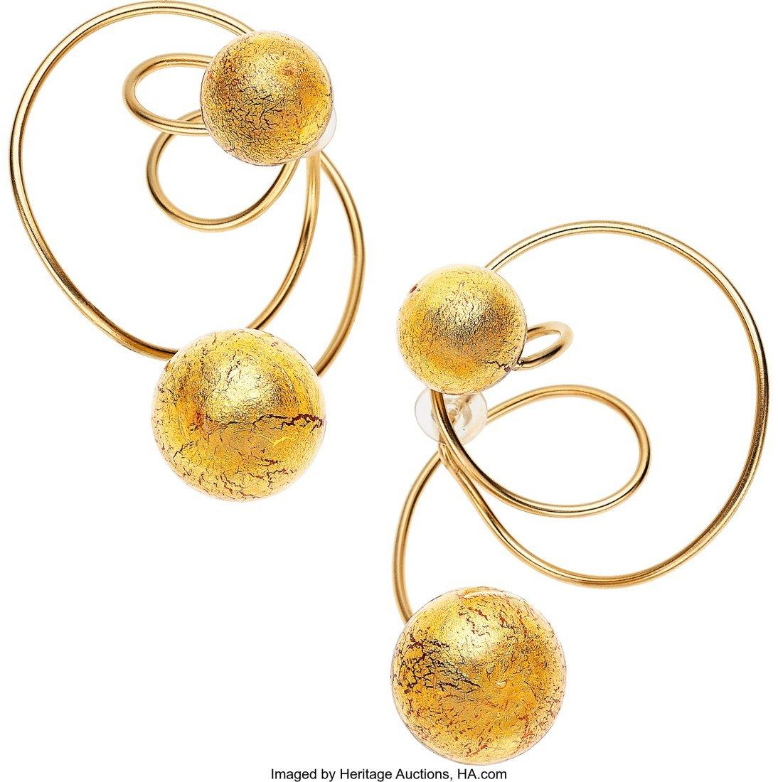 55073: Venetian Glass, Gold Leaf, Titanium Earrings, JA