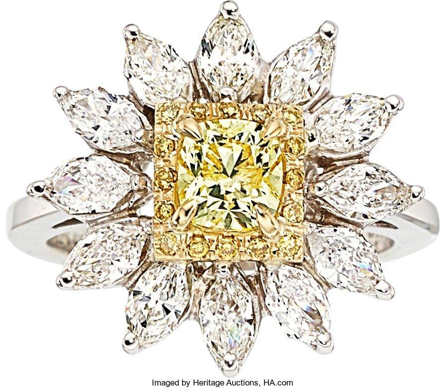 55281: Fancy Light Yellow Diamond, Diamond, Gold Ring