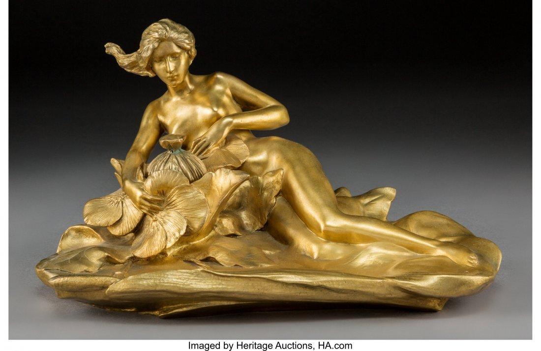 63082: A Maurice Bouval Art Nouveau Gilt Bronze Figural
