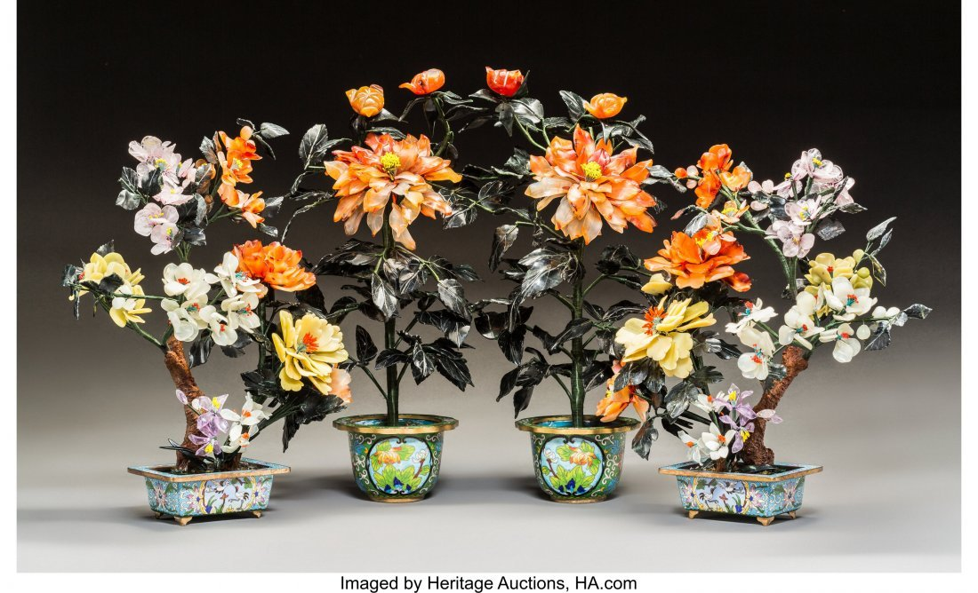 63235: Two Pairs of Chinese Hardstone Trees in Cloisonn