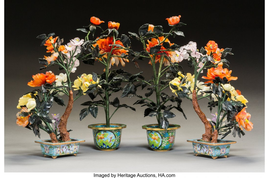 63235: Two Pairs of Chinese Hardstone Trees in Cloisonn - 2
