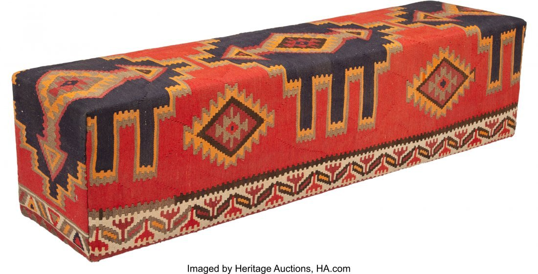 63021: A Kilim Covered Bench, 20th century 18-1/4 x 71-