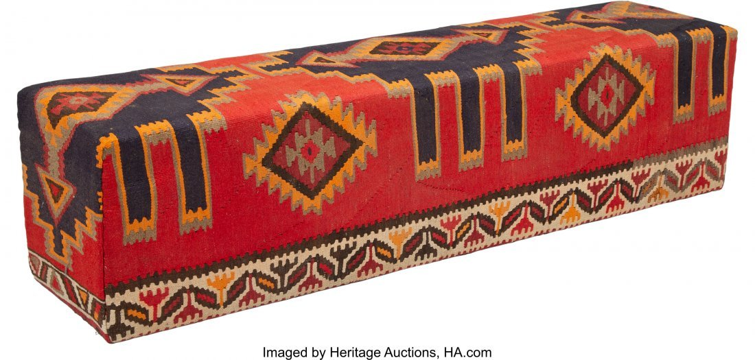 63021: A Kilim Covered Bench, 20th century 18-1/4 x 71- - 2