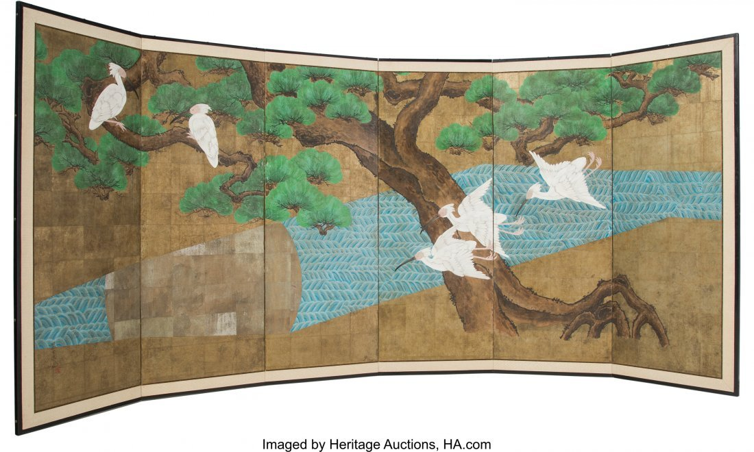 63239: A Pair of Japanese Six Panel Room Screens with C