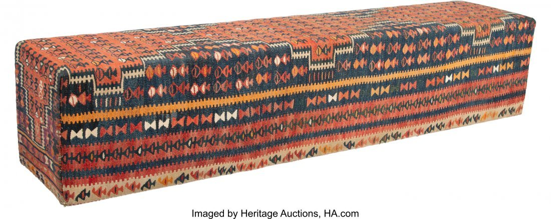 63024: A Kilim Covered Bench, 20th century 19 x 89 x 18