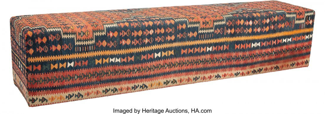 63024: A Kilim Covered Bench, 20th century 19 x 89 x 18 - 2
