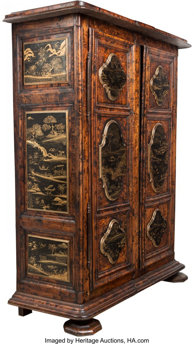 63244: A Large French Provincial Walnut Armoire Decorat