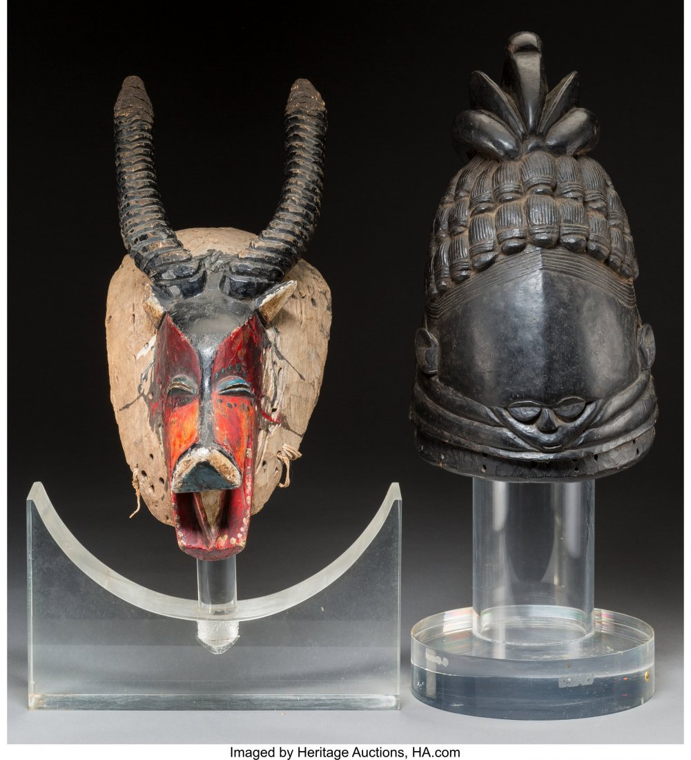 63036: Two African Carved and Polychromed Wood Figural