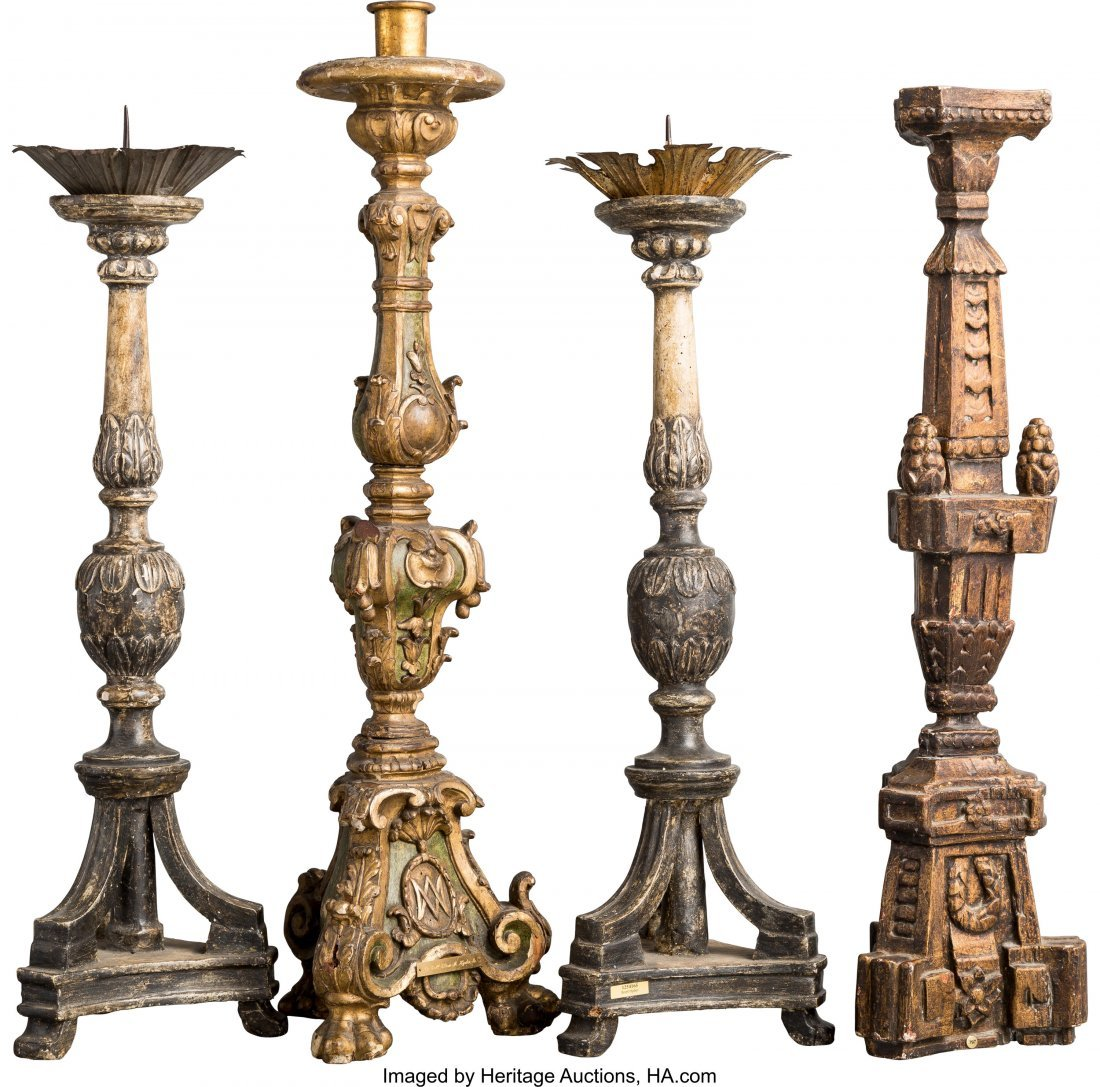 63042: A Group of Four Carved Wood Candle Holders and P