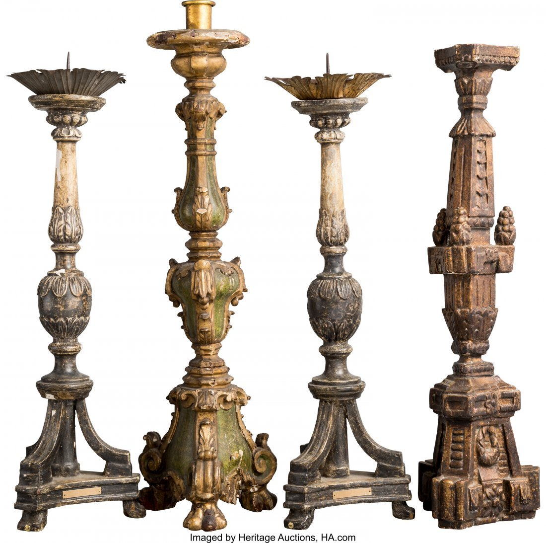 63042: A Group of Four Carved Wood Candle Holders and P - 2