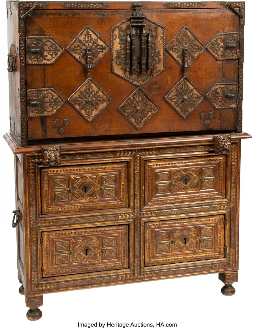 63045: A Spanish Colonial Painted, Gilt, and Iron-Mount