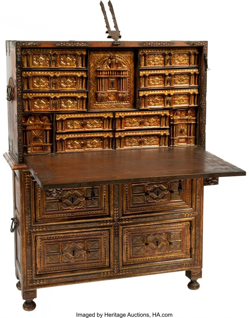 63045: A Spanish Colonial Painted, Gilt, and Iron-Mount - 2