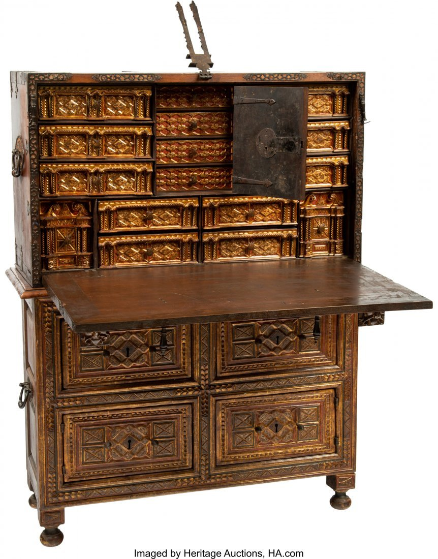 63045: A Spanish Colonial Painted, Gilt, and Iron-Mount - 3