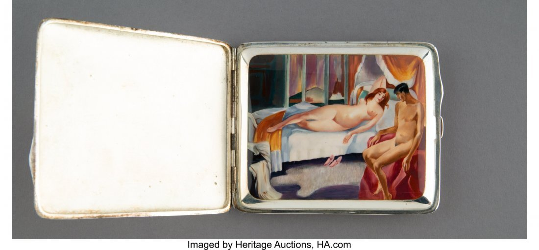 63100: An Art Deco Silver and Enameled Cigarette Case w