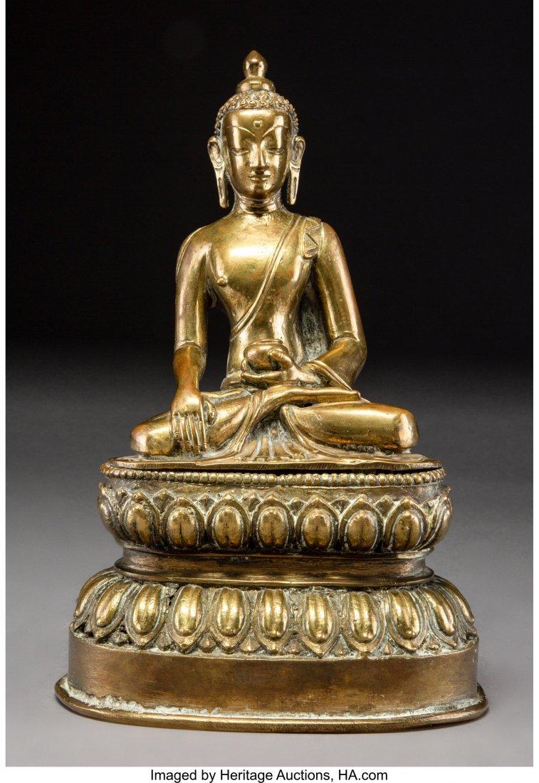 63251: A Chinese Gilt Bronze Seated Buddha Figure 10-1/
