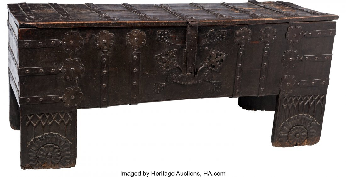 63052: An English Medieval Oak Coffer with Hand-Forged