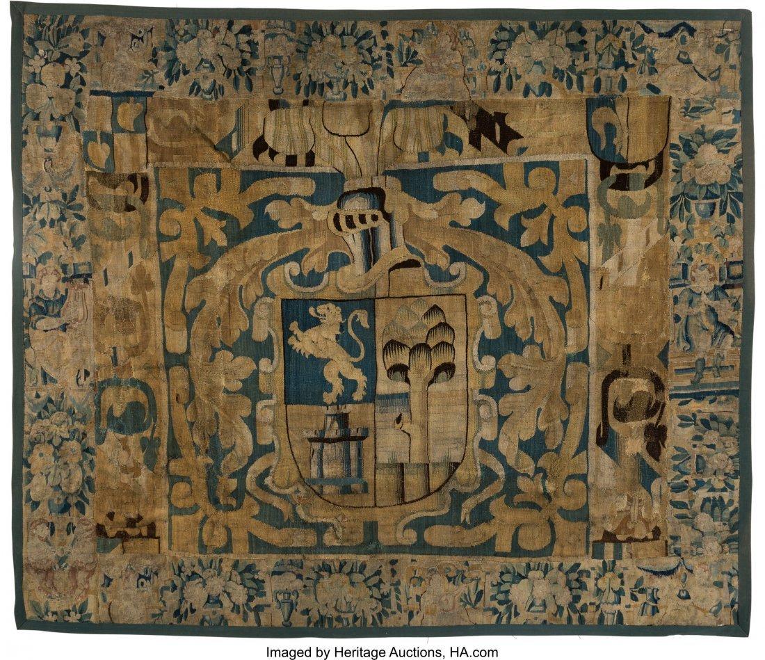 63057: A Flemish Heraldic Tapestry Fragment, 18th centu