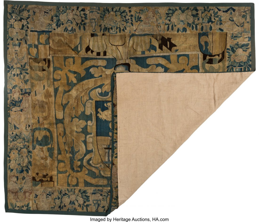63057: A Flemish Heraldic Tapestry Fragment, 18th centu - 2