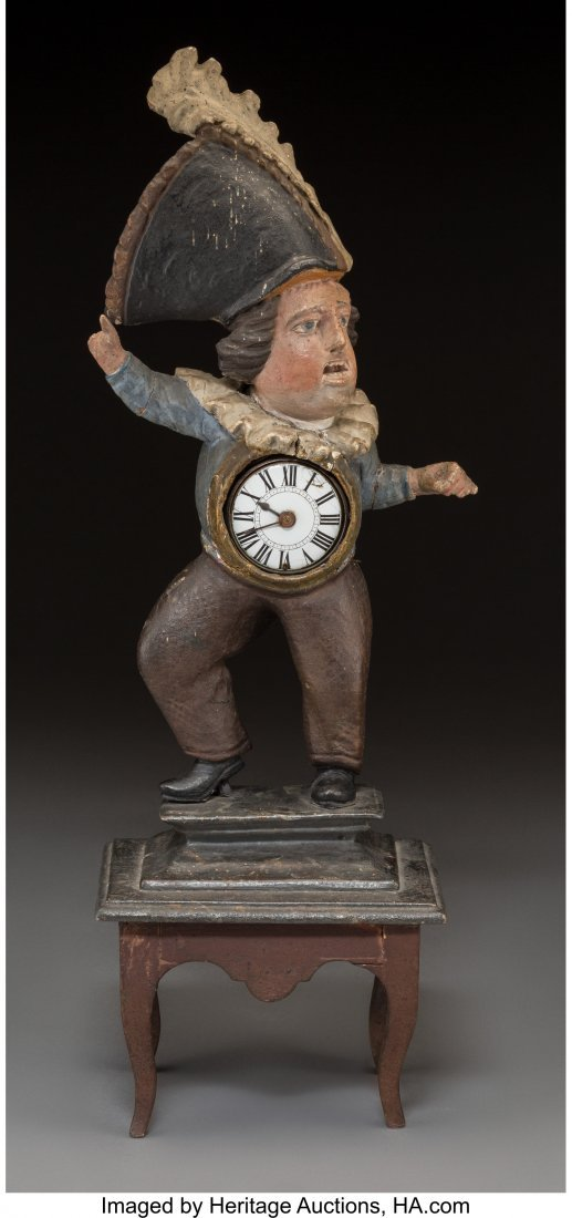 63058: A Carved Wood Figural Town Crier Clock, 19th cen