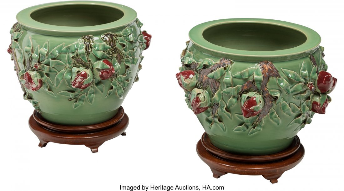 63265: A Pair of Large Chinese Ceramic Jardinières wit