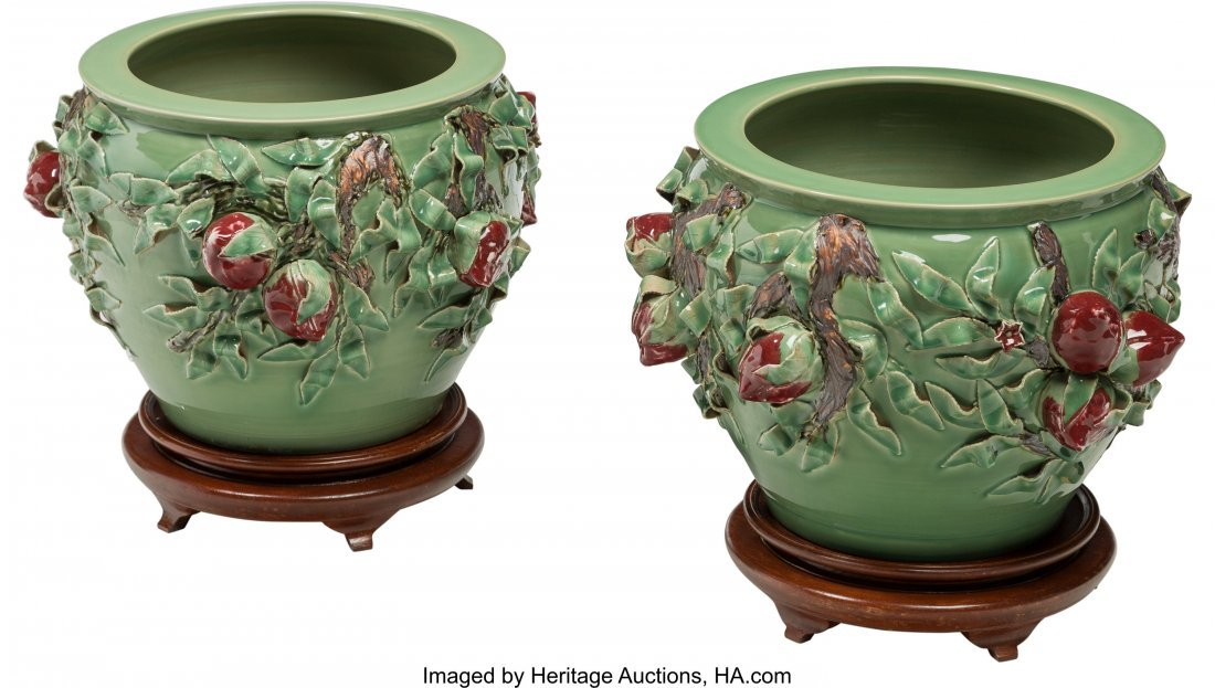 63265: A Pair of Large Chinese Ceramic Jardinières wit - 2