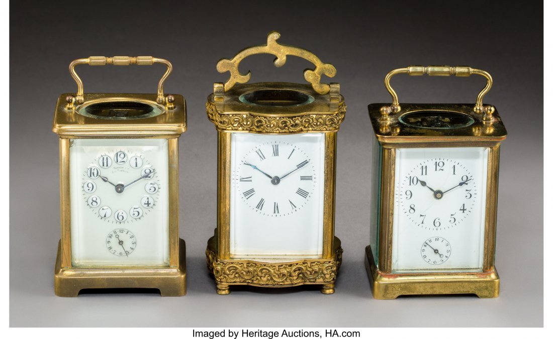 63132: Three French Brass and Beveled Glass Carriage Cl