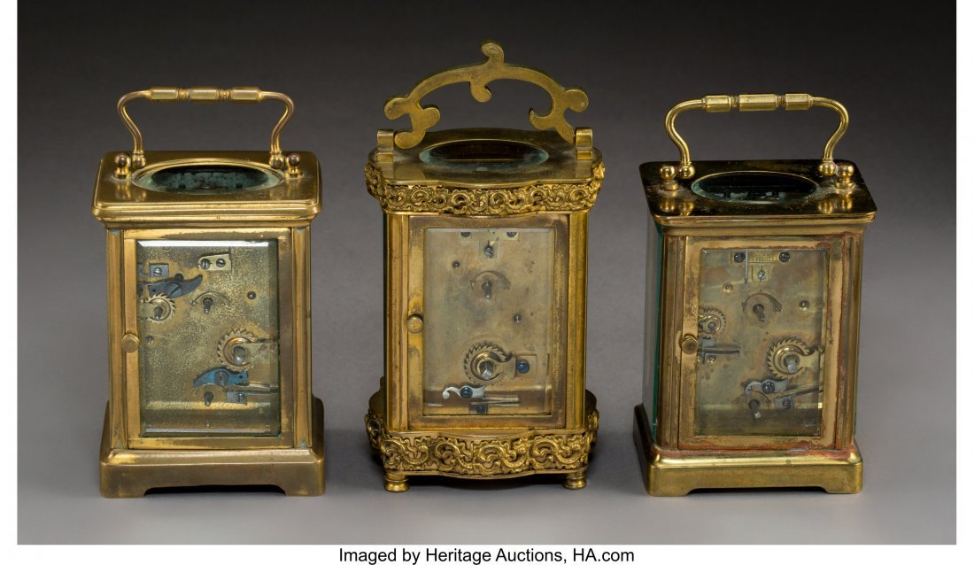 63132: Three French Brass and Beveled Glass Carriage Cl - 2