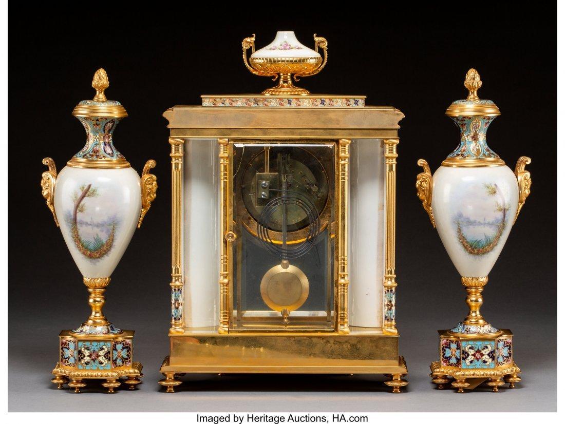 63343: A Three-Piece Louis XVI-Style Gilt Bronze, Porce - 2