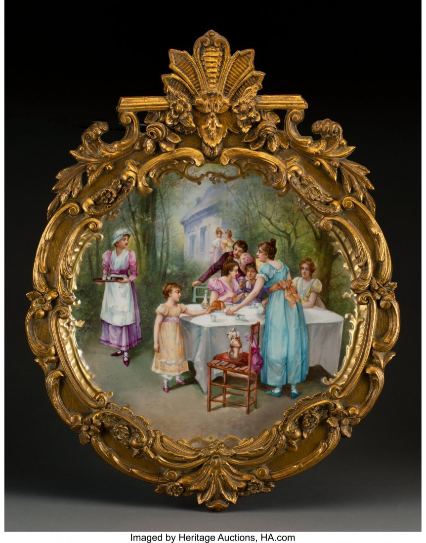 63420: A Sèvres-Style Porcelain Plate with Genre Scene