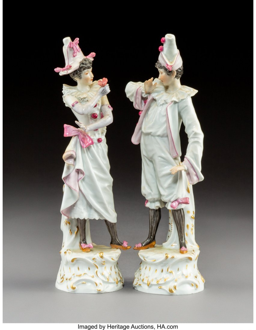 63425: A Pair of Meissen Polychromed and Gilt Porcelain