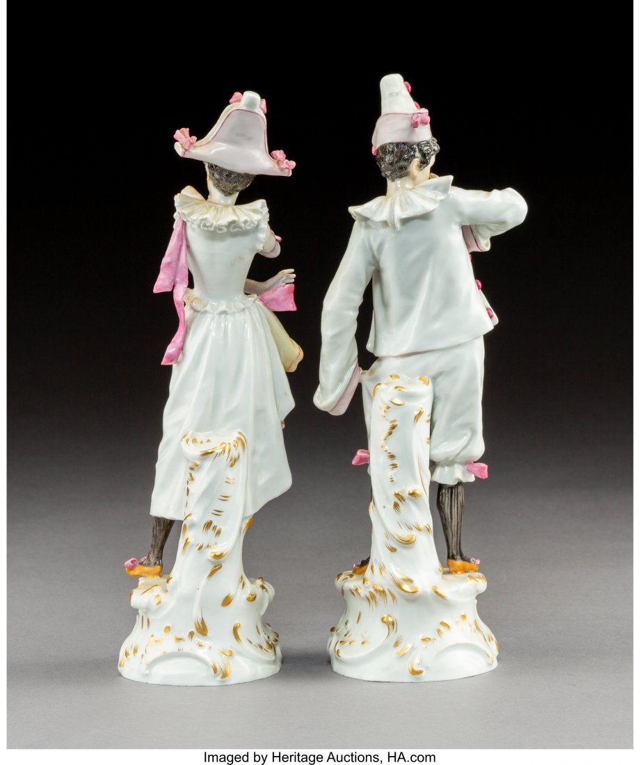 63425: A Pair of Meissen Polychromed and Gilt Porcelain - 2