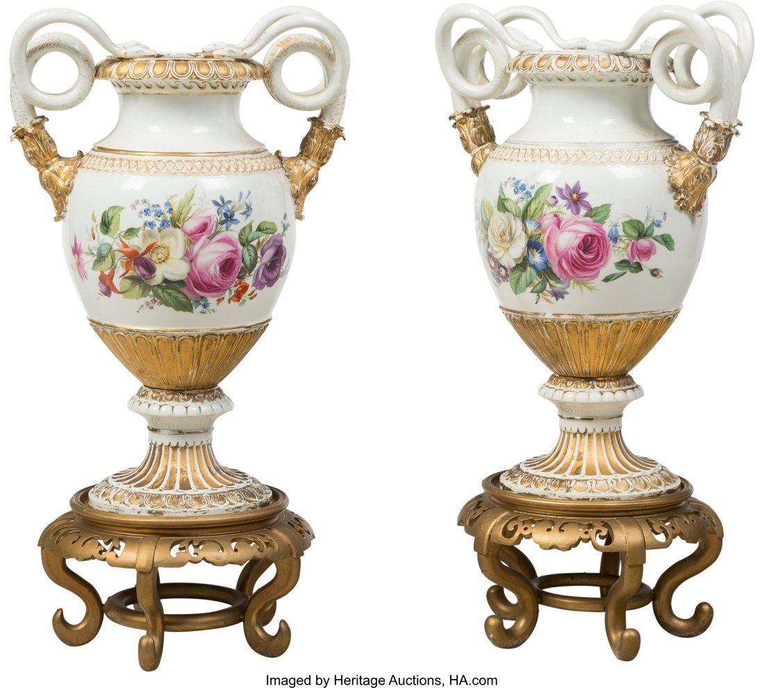 63434: A Pair of Meissen Polychromed and Gilt Porcelain