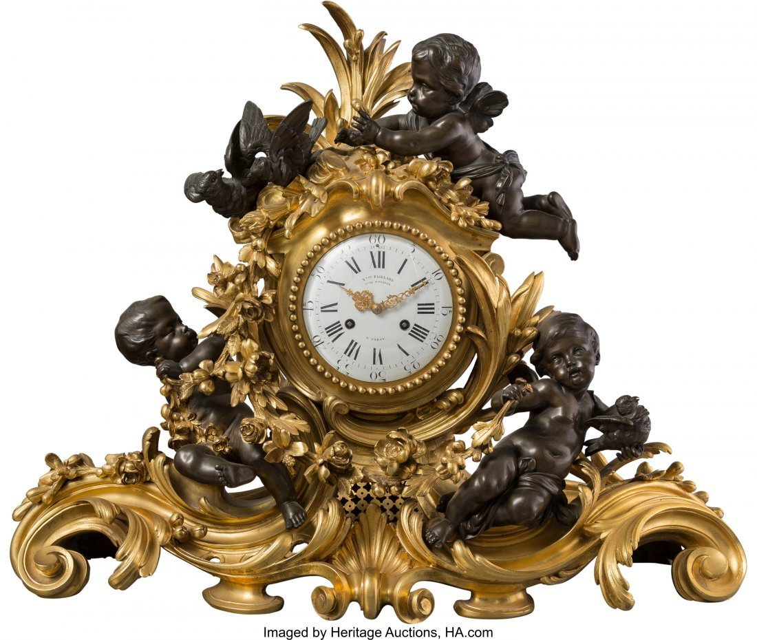 63440: A Large Victor Paillard Louis XV-Style Gilt and