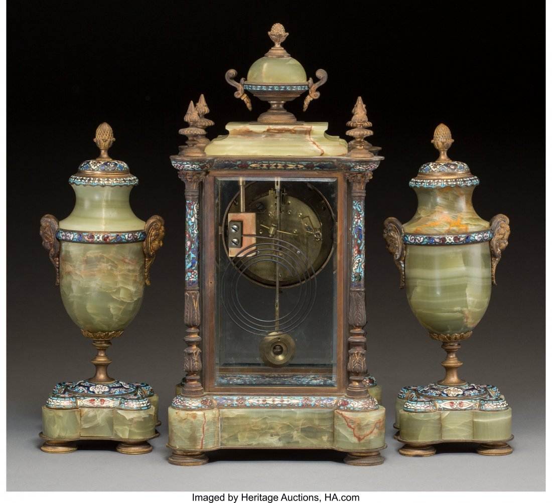 63496: A Three-Piece French Gilt Bronze, Onyx, and Cham - 2