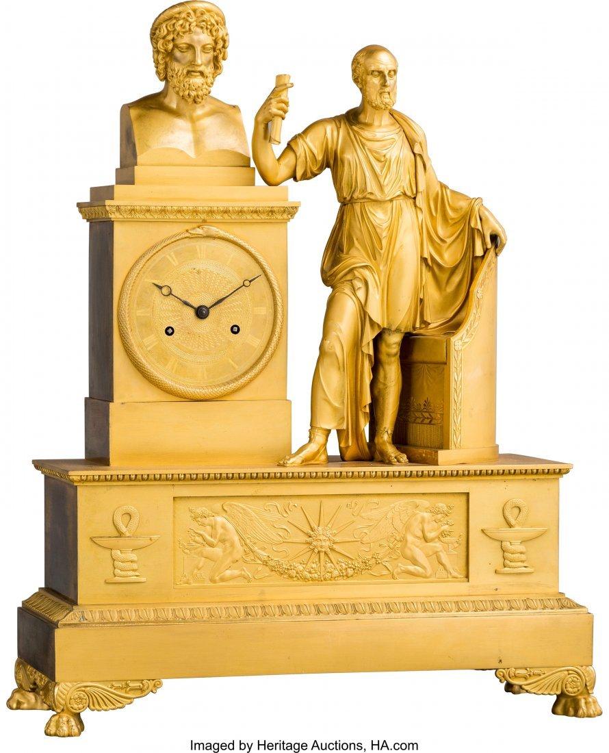 63443: A Fine French Empire Gilt Bronze Classical Mante