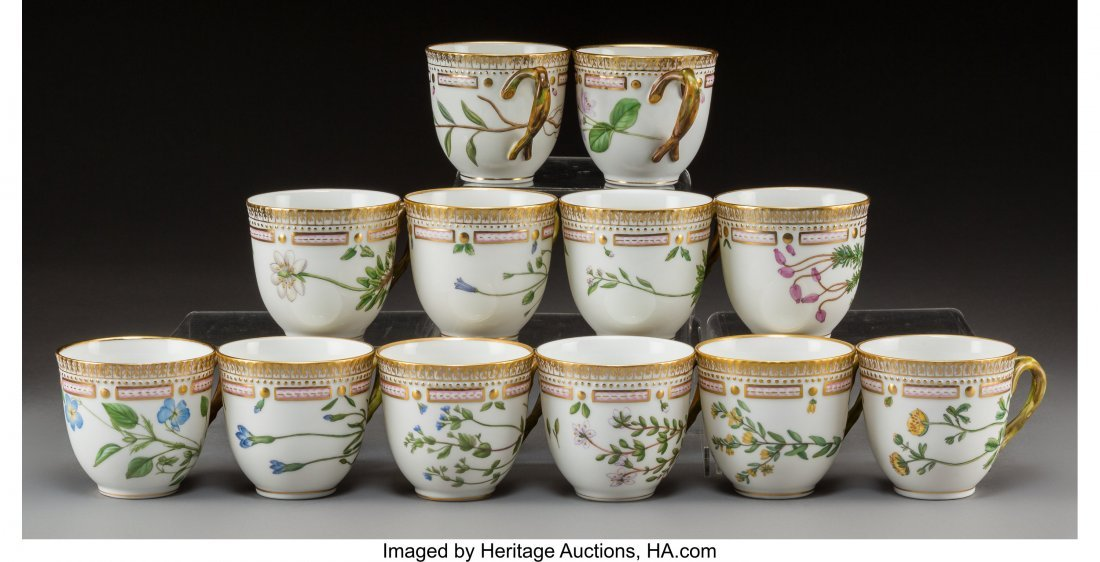 63450: Twelve Royal Copenhagen Flora Danica Pattern Por - 2