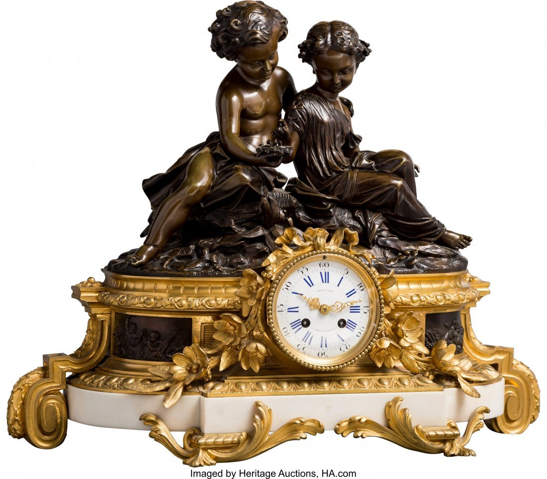 63480: A Napoleon III Patinated and Gilt Bronze Mantel