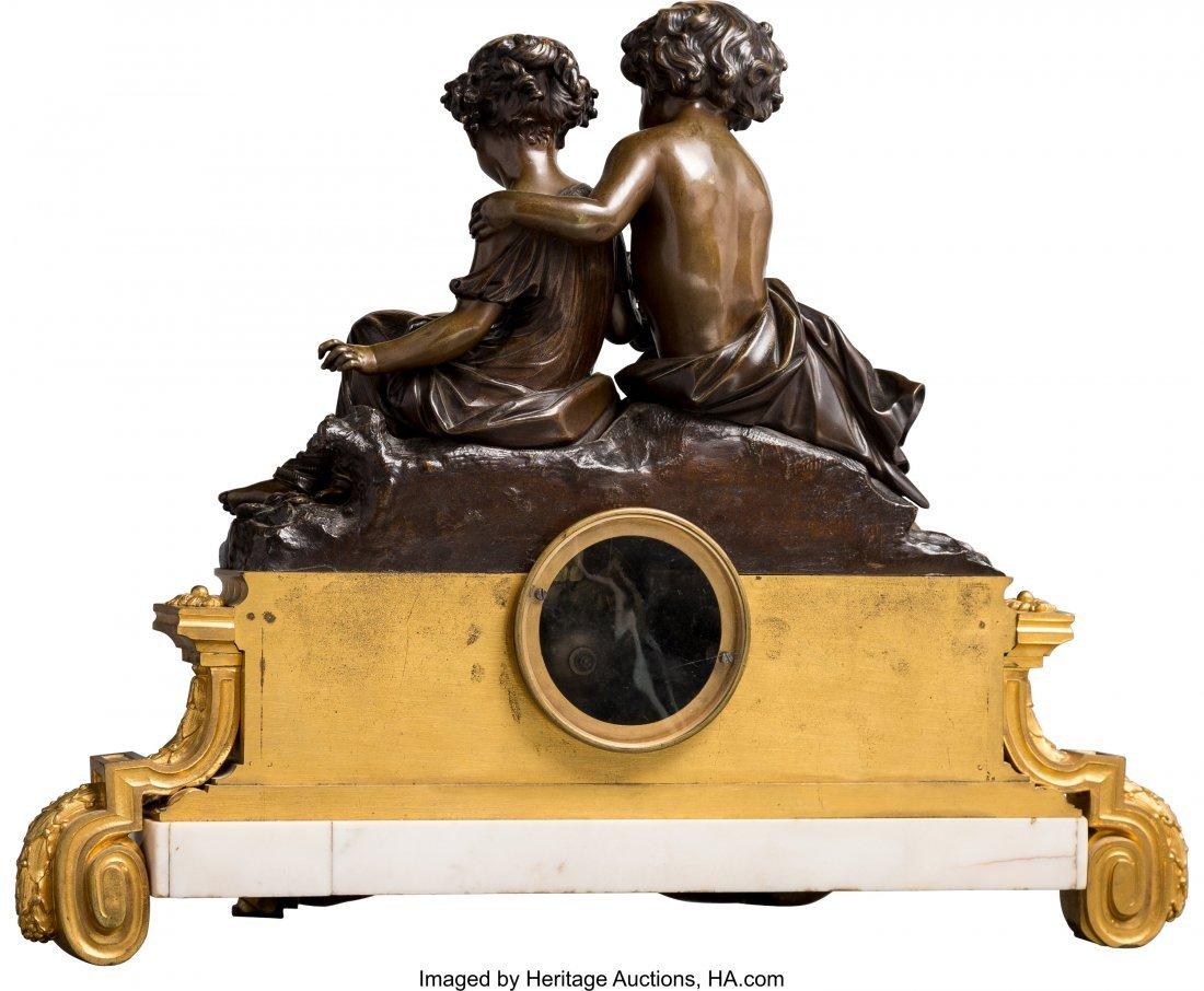 63480: A Napoleon III Patinated and Gilt Bronze Mantel  - 2