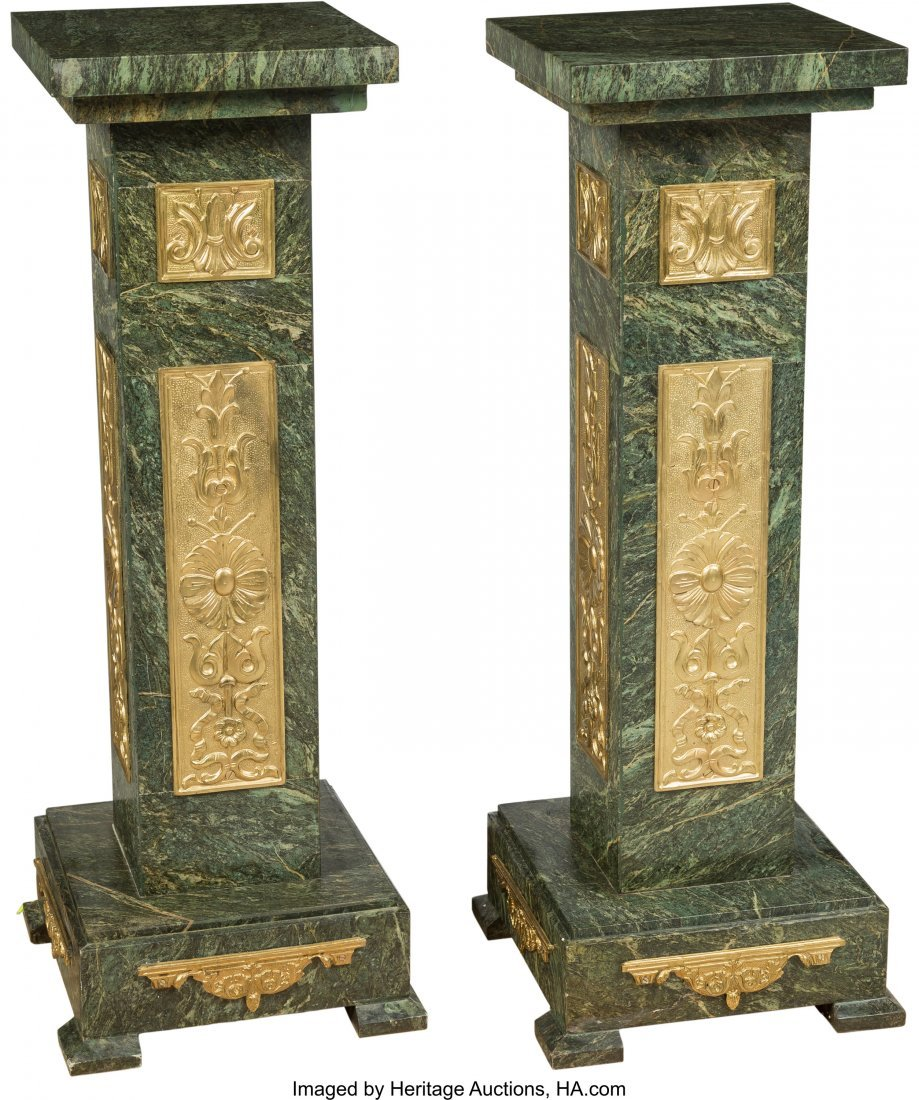 63485: A Pair of French-Inspired Gilt Bronze and Verde