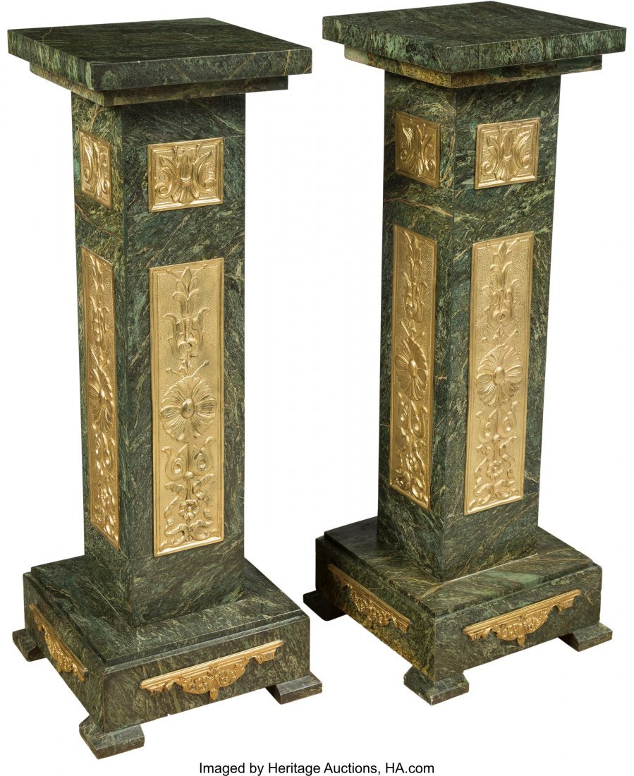 63485: A Pair of French-Inspired Gilt Bronze and Verde  - 2