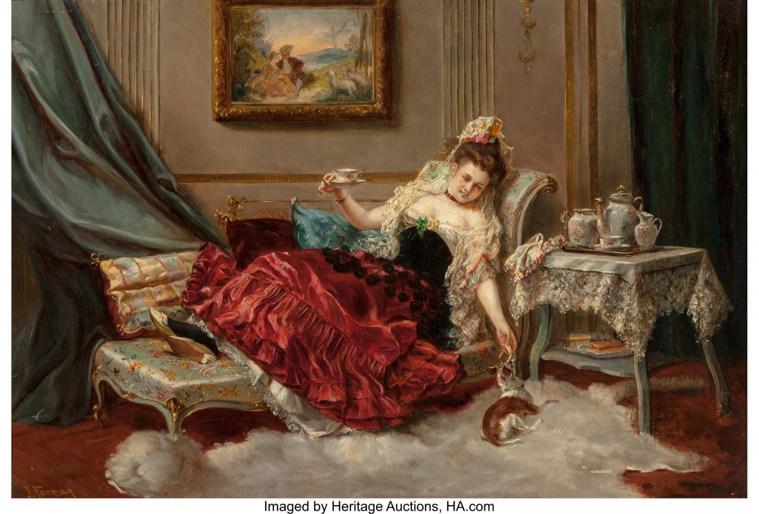 63693: J. Forman (19th Century) A Resting Beauty Oil on