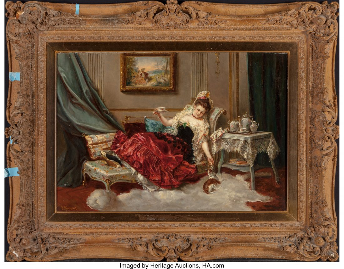 63693: J. Forman (19th Century) A Resting Beauty Oil on - 2