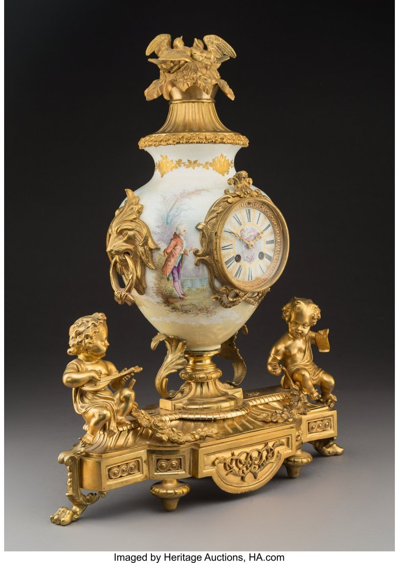 63541: A French Porcelain Mantel Clock with Figural Gil - 2
