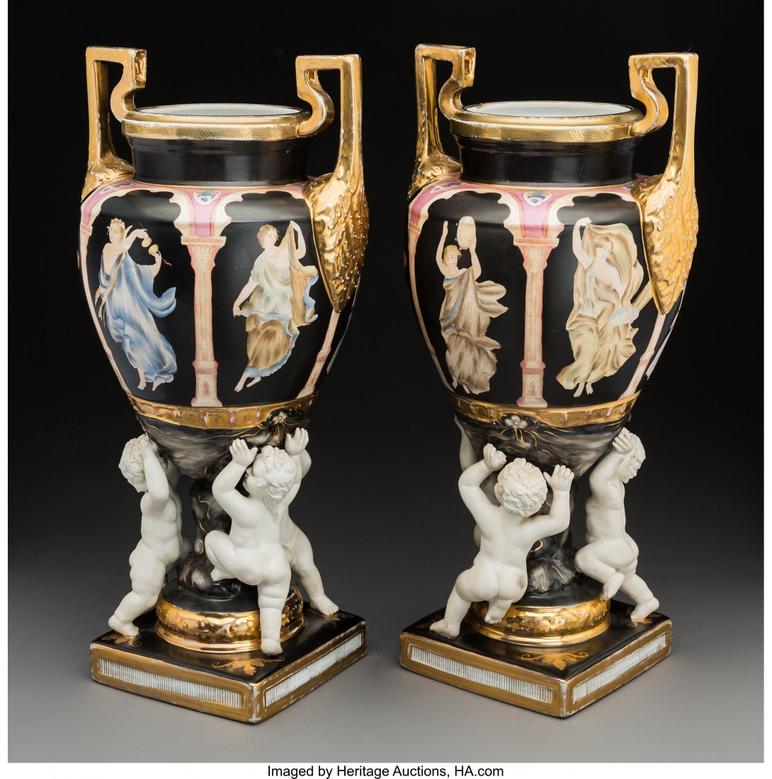 63492: A Pair of Sèvres-Style Porcelain and Bisque Urn - 2