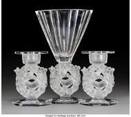 63615: A Lalique Mesanges Pattern Clear and Frosted Cry