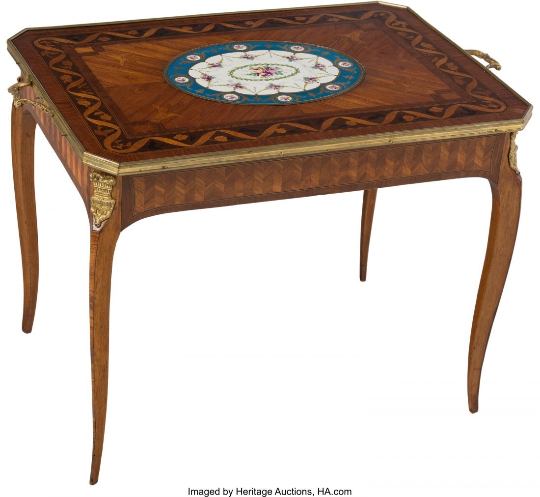63556: A Louis XV-Style Marquetry Inlaid Table with Sè