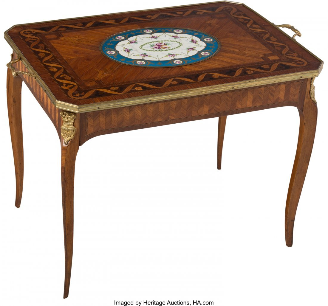 63556: A Louis XV-Style Marquetry Inlaid Table with Sè - 2