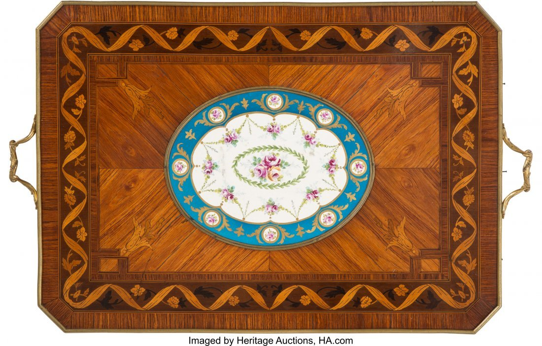 63556: A Louis XV-Style Marquetry Inlaid Table with Sè - 3