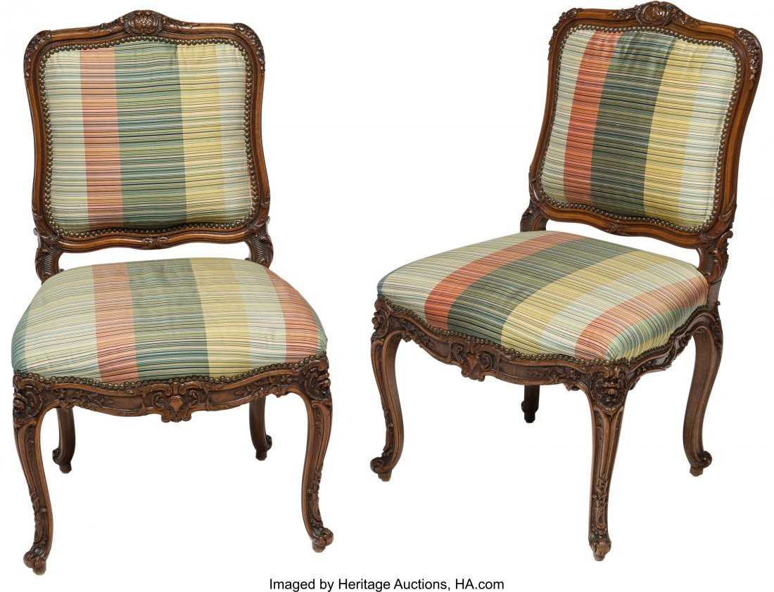 63559: Two Louis XV-Style Walnut Side Chairs, late 19th