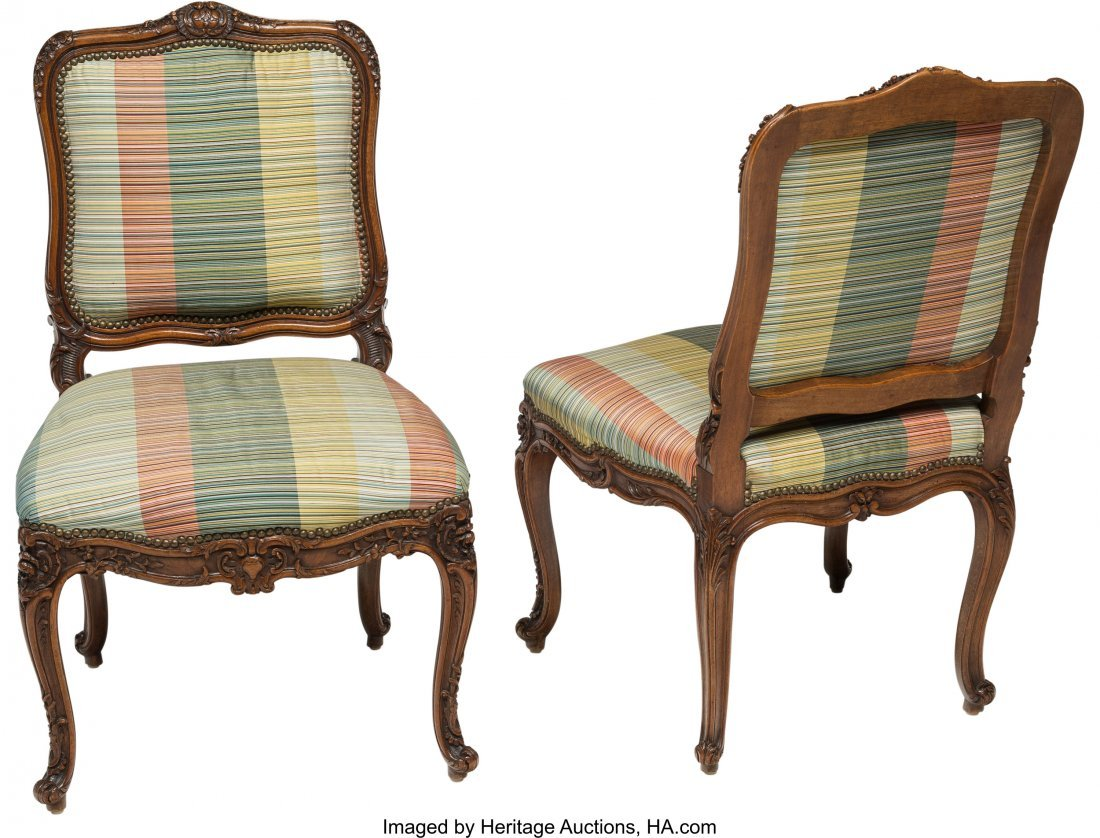 63559: Two Louis XV-Style Walnut Side Chairs, late 19th - 2